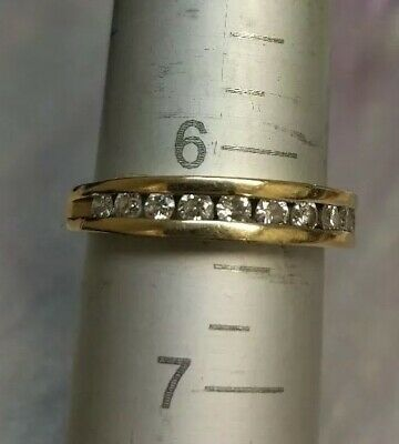 14k Solid Yellow Gold Channel Set Diamond Wedding Band Ring, size6.25~ 3.1Grams