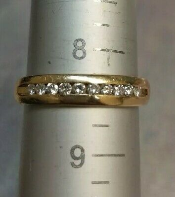 14k Solid Yellow Gold Channel Set Diamond Wedding Band Ring, size8.5, 3.6 grams
