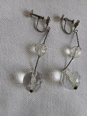 Vintage Germany Faceted round cut glass earrings