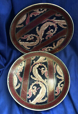 ORIENTAL ACCENT Decorative Plates Set Of 2 Blue Fantasy Collector's Plate VTG