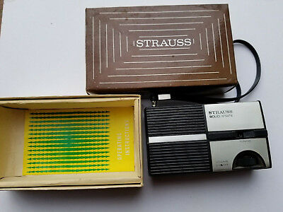 Rare Vintage Strauss Solid State AM Pocket Radio 1970's with BOX