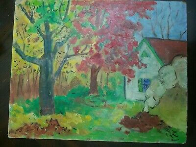 Oil Painting on canvas  board 20 x 16 inches signed B . Lazzell DAMAGED
