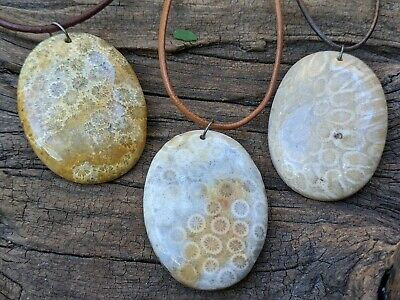 Round Fossil Pendant Customized Necklace Rustic Outdoors Nature Jewelry RSP