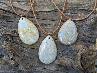 Round Fossil Pendant Customized Necklace Rustic Outdoors Nature Jewelry TDS