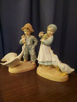 Vintage Holland Mold 1960's Boy & Girl with Geese Figurines 8.5""