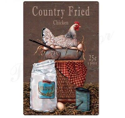 Scratch Feed Chicken Farm Rooster Kitchen Wall Decor Farming Tin Metal Sign New