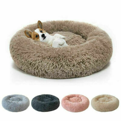 Donut Pet Dog Cat Bed Fluffy Plush Soft Warm Calming Sleeping Bed Kennel Nest