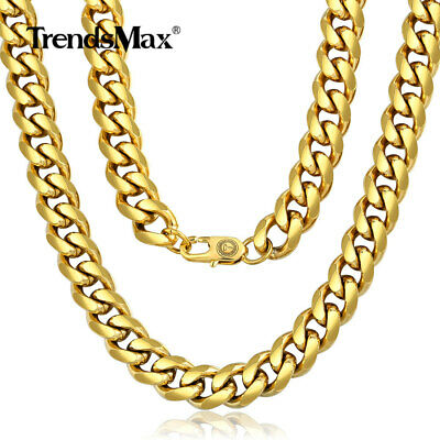 """11mm Wide Curb Cuban Link Gold Necklace Stainless Steel Men's Chain 18""""-22"""""""