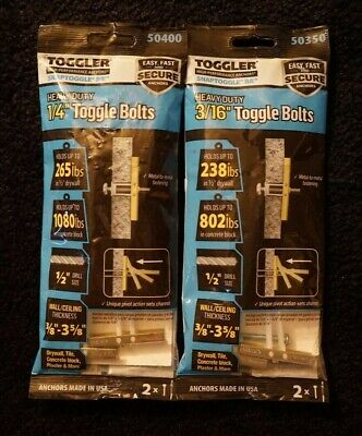Toggler SnapToggle BA 3//16 Heavy Duty Anchor 2-Pack Bolts 50350 Lot of 10
