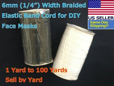 10//20//100//500M DIY Flat Elastic Cords Knit Braided Sewing Band Ropes 3//5mm White