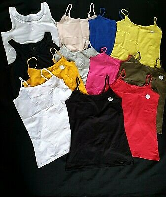 5 x Pack Ladies Womens Strappy Stretch Cotton Blend Cami Vest tops  Size 8-18