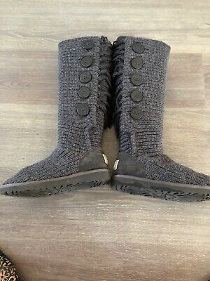 AUTHENTIC UGG AUSTRALIA Ladies Grey Knitted Wool Boots Size