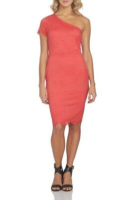 NEW 1.State Size XL Dress One Shoulder Bodycon Pink Coral Petal Lace Overlay