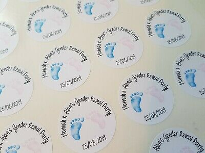 Personalised Gender Reveal Baby Shower Stickers Favour Party Tag 24 X 4Cm Round