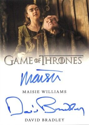Game Of Thrones Season 8 Dual Autograph Card Maisie Williams & David Bradley