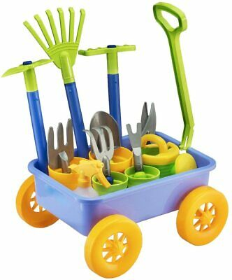 Kids Wagon Wheelbarrow and Gardening Tools Play Set Pull Along w/ Accessories