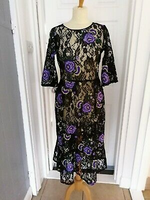 242 Chainstore Womens Ladies Floral Embroidered Collar Dress 10-24