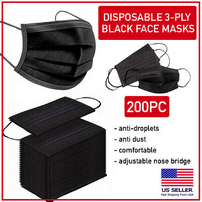 200 PCS Black Disposable Face Mask Triple Ply Ear-Loop Mouth Cover