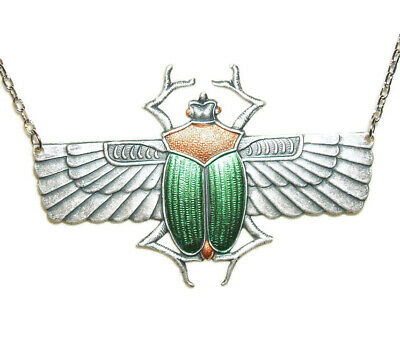 WINGED SCARAB BEETLE Necklace Egyptian Revival Jewelry