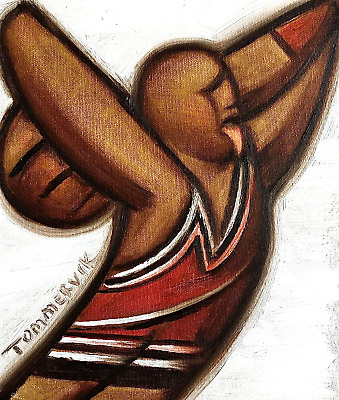 MICHAEL JORDAN ART BEHIND THE HEAD DUNK BASKETBALL PAINtTING SPORTS ARTWORK ART