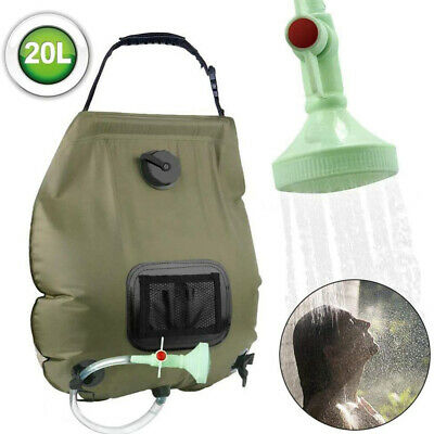 Leisurewize Outdoor 20L Travel Camping Solar Heated Water Shower /& LED Lamp