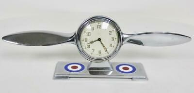Very Rare Antique RAF Smiths 8Day Unusual Chrome Aeroplane Propeller Desk Clock