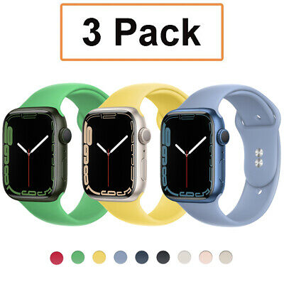3 Pack Silicone Sport Band iWatch Strap for 38/40/42/44mm Apple Watch Series 5-1