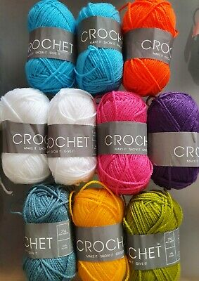 10 balls of art of crochet//knitting 25g balls of acrylic yarn various colours