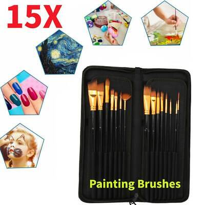 15 Artist Paint Brushes Set Acrylic Oil Watercolour Painting Craft Art Model Kit