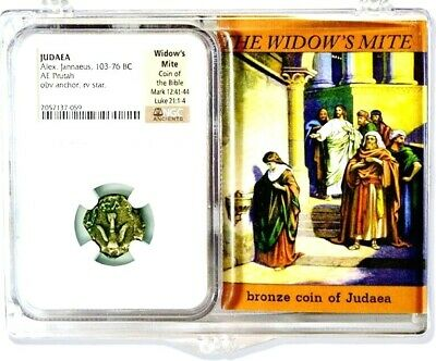 2000 Year Old Ancient Widows Mite Coin & Story Card NGC Certified In Clear Box