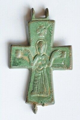 Byzantine bronze reliquary cross encolpion Virgin Mary 7th century AD.