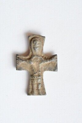 Byzantine bronze cross Jesus Christ crucified & Virgin Mary 5th century AD.