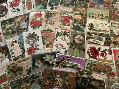 Big Estate Lot of 75 Vintage Antique Christmas Holiday Postcards-in Sleeves-a706