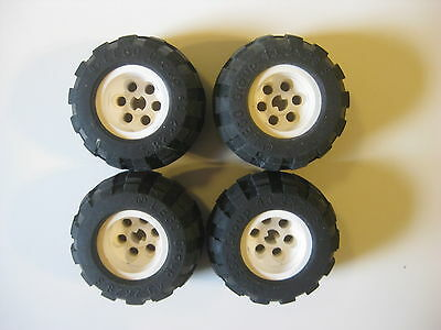 Lego 13x24 Technic Wheels LOT OF 4 Tires with White Rims Construction Car Truck