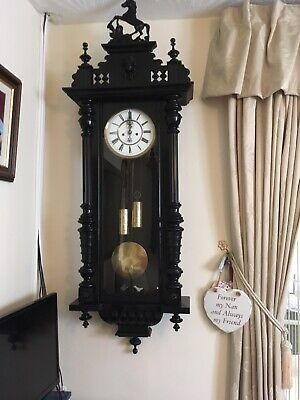 Large Black Vienna Wall Clock With Weights & Horse Figure and Pendulum