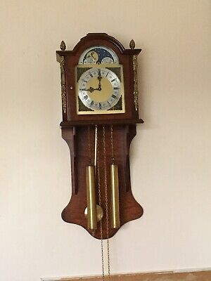 Large Dutch Bim Bam Wall Clock With Moonphase Dial & Large Brass Weights