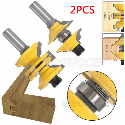 """1/2"""" Shank Router Bits Door Frame Tenon Knife Combination for Wood Milling 2Pcs"""