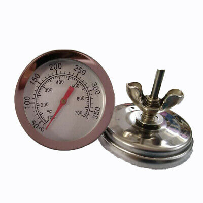 Stainless Steel Pizza Grill Oven Bimetal Dial BBQ Thermometer Degree
