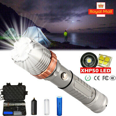 900000LM T6 Zoom Flashlight LED Rechargeable Tactical Torch Headlamp Light UK