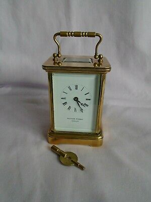 Vintage Matthew Norman Carriage Clock In Good Working Order + Key (6)