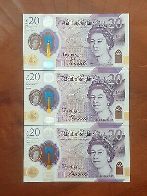 3x New Mint £20 Polymer Bank Notes With Low Consecutive Serial Numbers