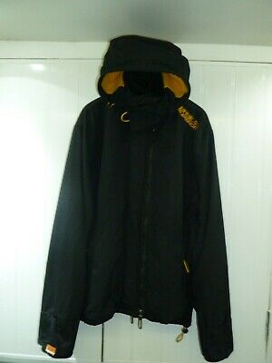 MEN'S BLACK HOODED Windcheater Jacket by Superdry in Size XL