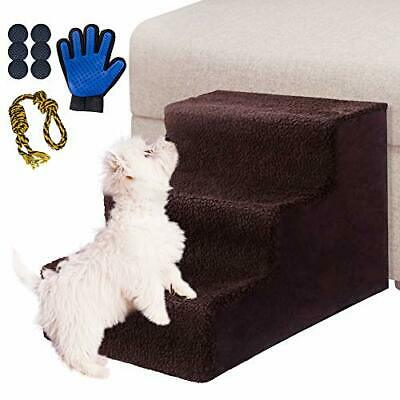 Masthome Dog Stairs with Pet Glove 3-Steps Non-slip Pet Bed Ladder