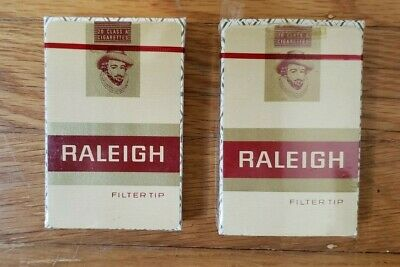 Lot of 2 Vintage RALEIGH Cigarettes Filter Tip Bridge Size Playing Cards