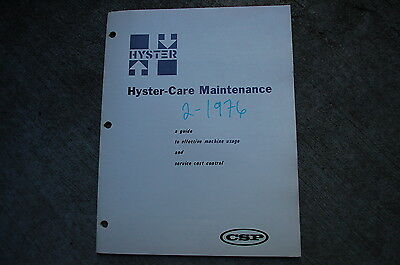HYSTER Forklift Maintenance Manual book guide checklist 1976 service operations