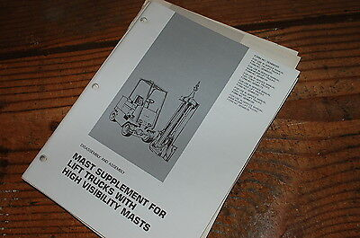 CATERPILLAR Forklift MAST SUPPLEMENT Disassembly Assembly Service Repair Manual