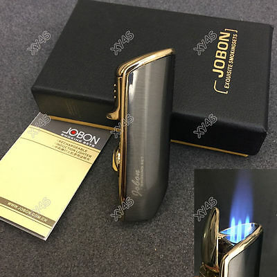 JOBON Triple Flame Torch Jet Cigar Cigarette Lighter Gray with Box Punch
