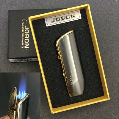 JOBON Triple Jet Flame Cigar Refillable Gas Torch Lighter Gray with Box