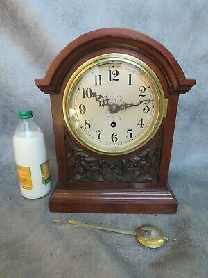 A Good English Mahogany Cased Single Fusee Mantle Clock With Key * Serviced *