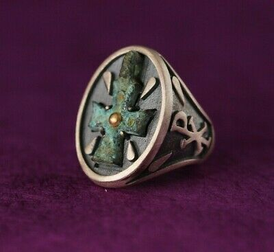 Antique Byzantine Ring Cross Sterling Silver & Gold  Size 8  Hand Made